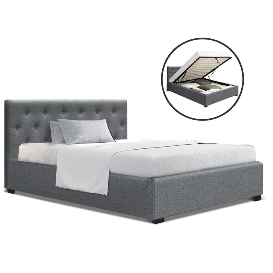 Artiss King Single Gas Lift Bed Frame Base Platform Fabric Wooden Grey