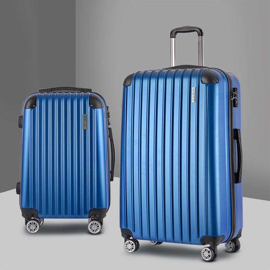 Wanderlite 2PCS Carry On Luggage Sets Travel Hard Case Lightweight Blue