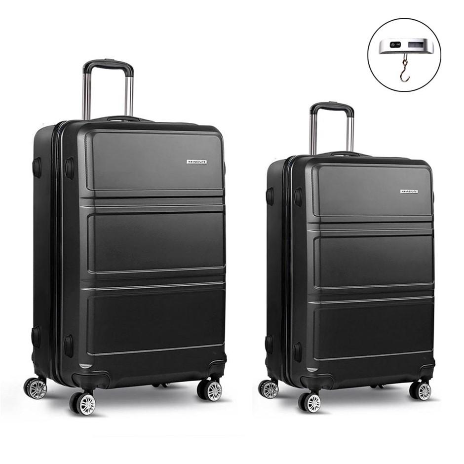 Wanderlite 2 Piece Lightweight Luggage Set - Black