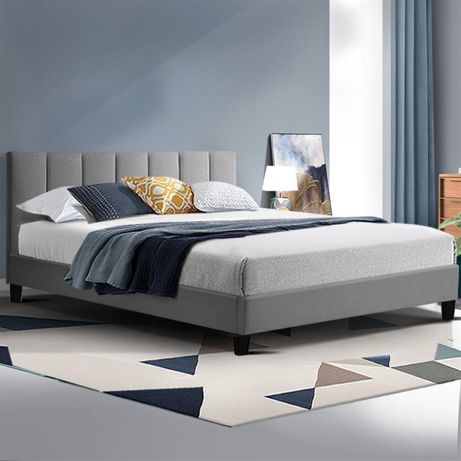 ANNA Bed Frame Queen Size Mattress Base Platform Fabric Wooden Grey