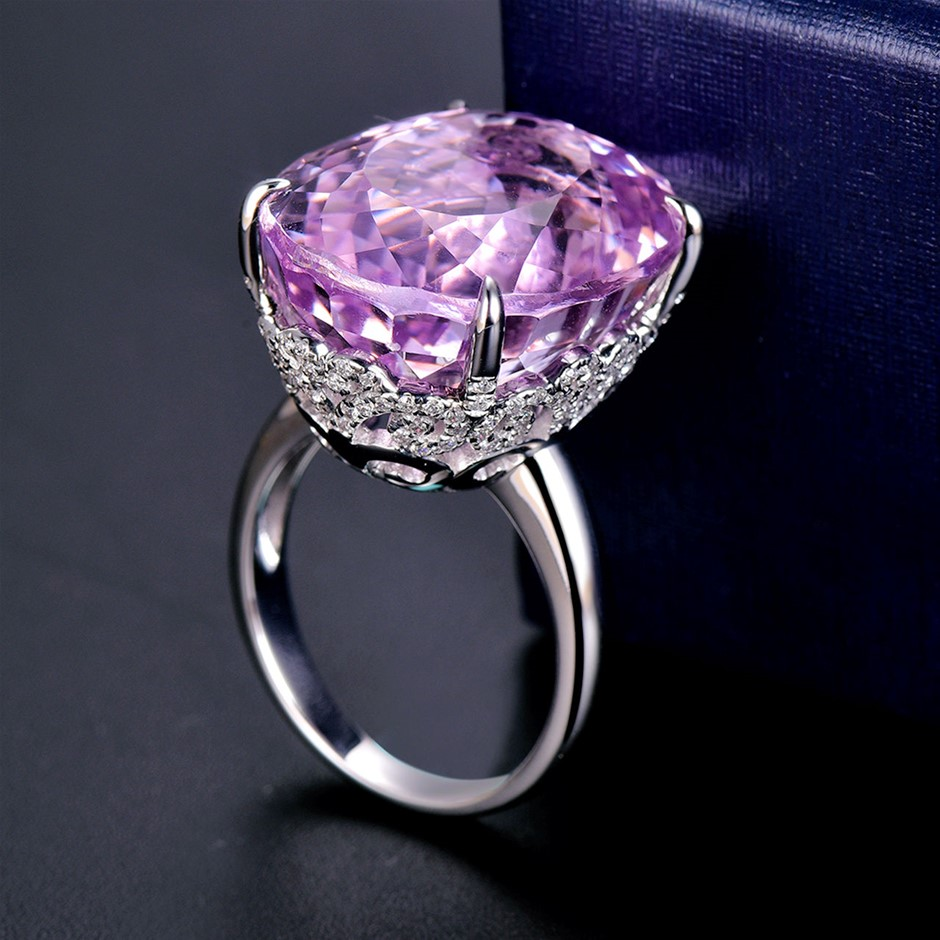 18ct White Gold, 28.37ct Pink Kunzite and Diamond Ring