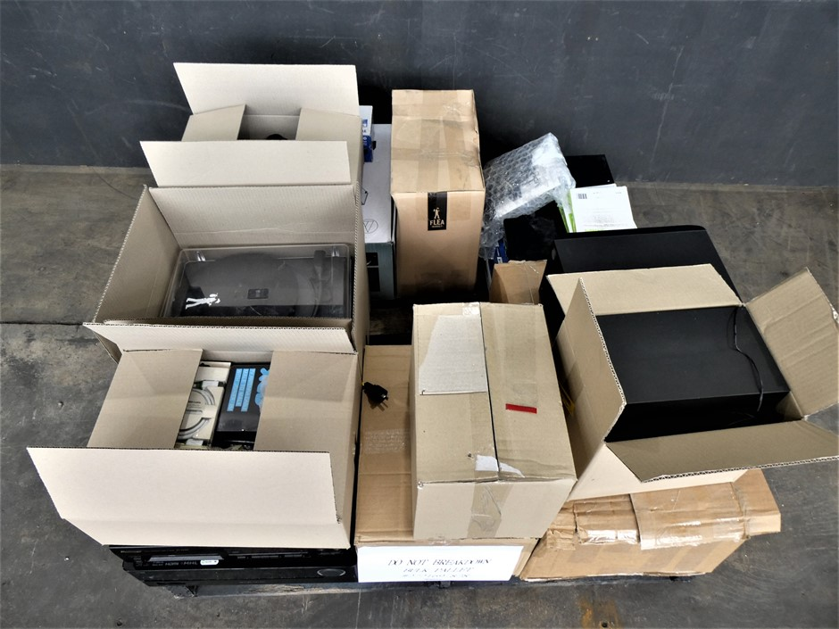 Pallet of ASSORTED USED AND UNTESTED AUDIO VISUAL EQUIPMENT AND ACCESSORIES