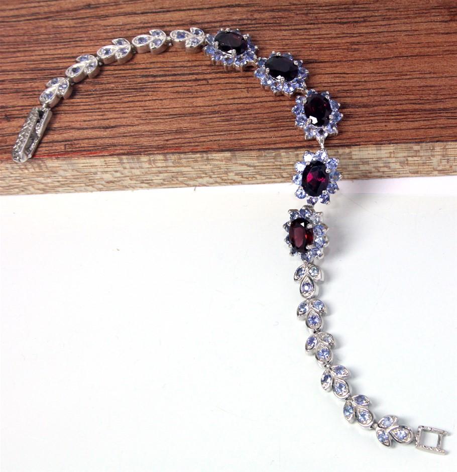 Sterling Silver Rhodolite Garnet & Tanzanite Bracelet