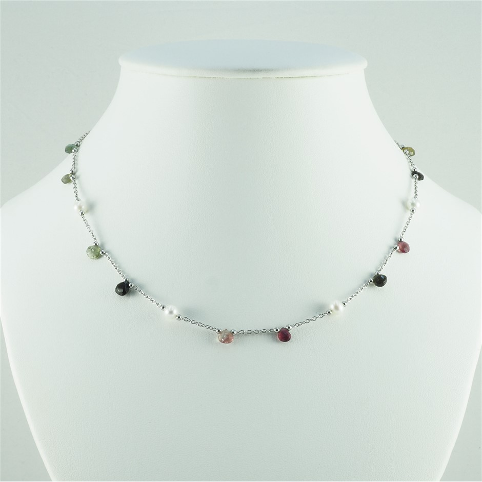 Freshwater pearl & sapphire set silver necklace