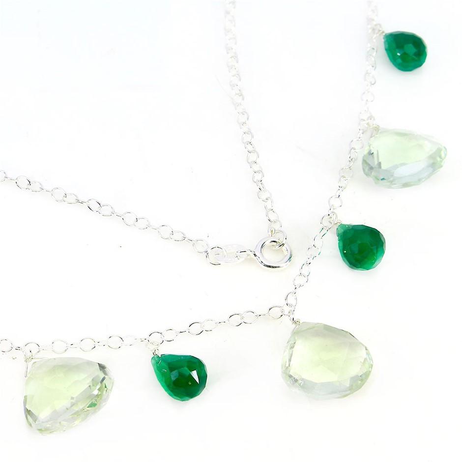 Genuine Green Amethyst & Aventurine Necklace