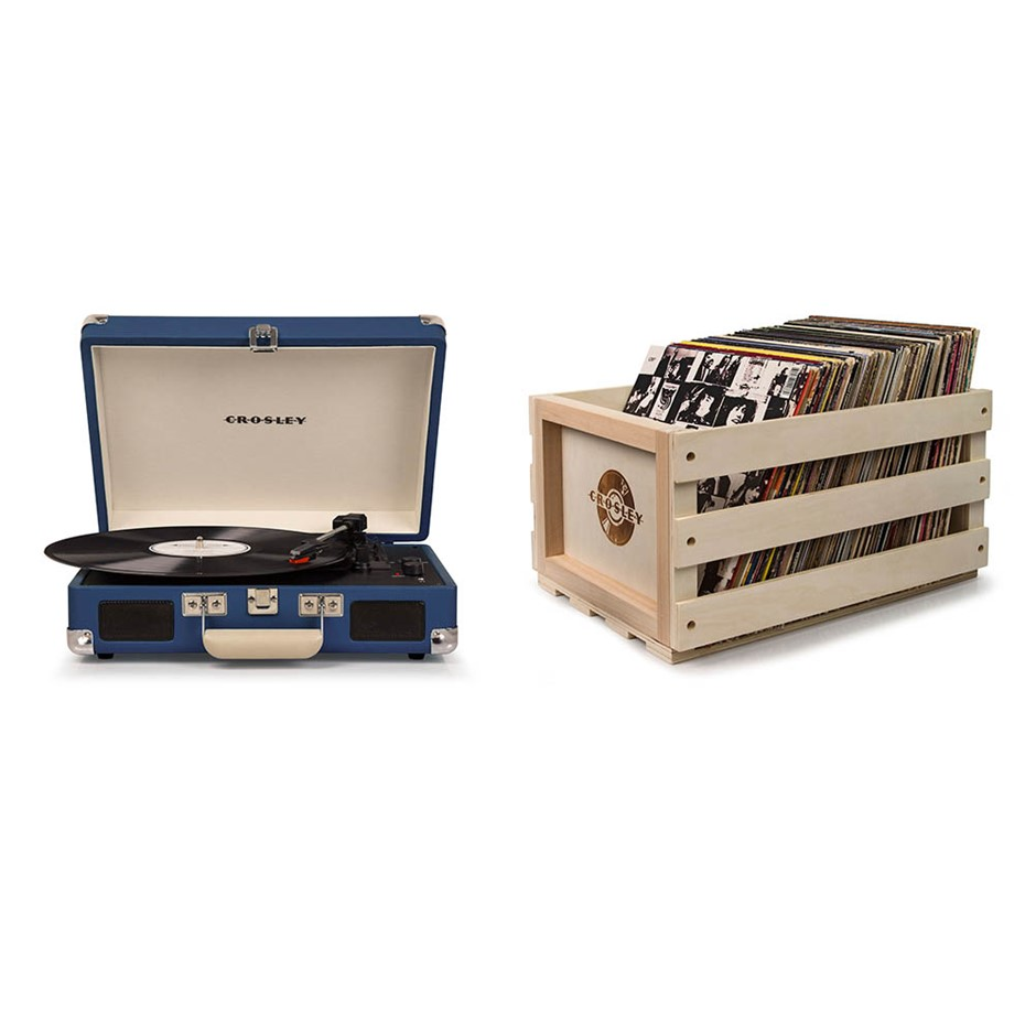 Crosley Cruiser Deluxe Portable Turntable- Blue + Free Record Storage Crate