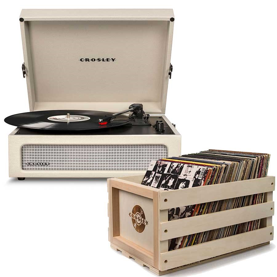 Crosley Voyager Portable Turntable - Dune + Free Record Storage Crate