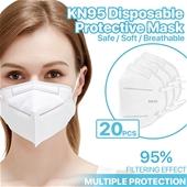 (20 Pack) KN95 Disposable Folding Face Masks