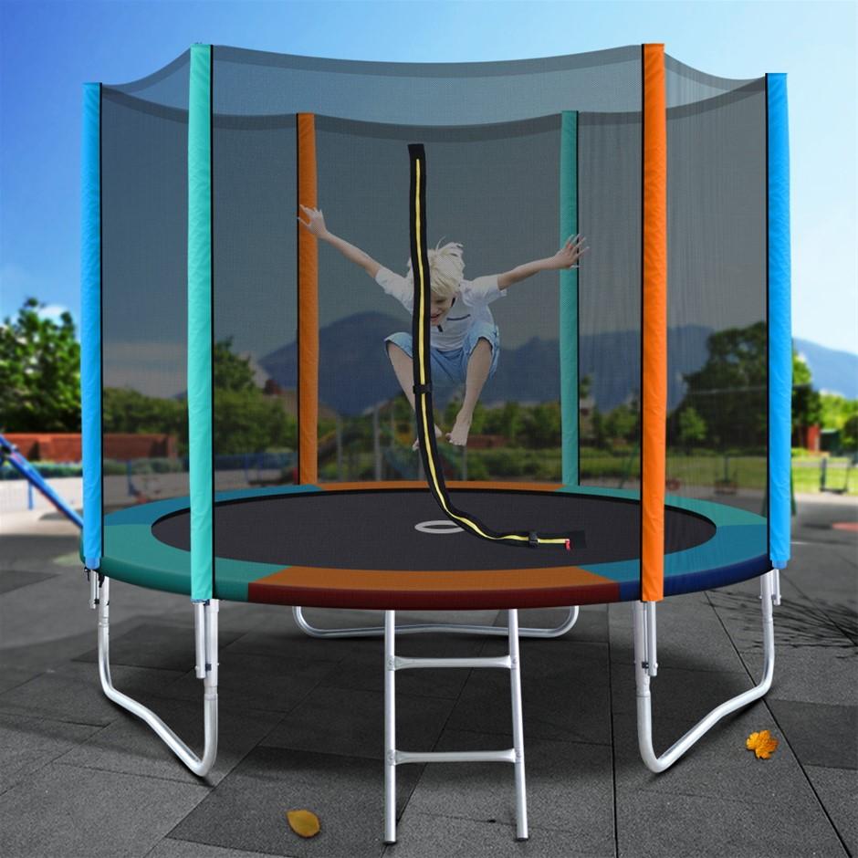 8FT Trampoline Round Trampolines Kids Enclosure Safety Net Pad