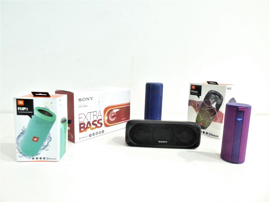 Box Containing ASSORTED USED & UNTESTED PORTABLE BLUETOOTH SPEAKERS