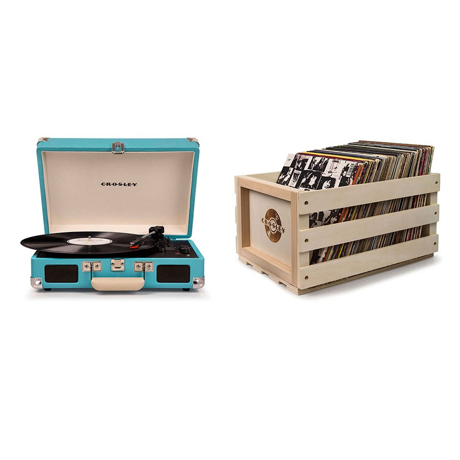 Crosley Cruiser Deluxe Portable Turntable + Free Record Storage Crate