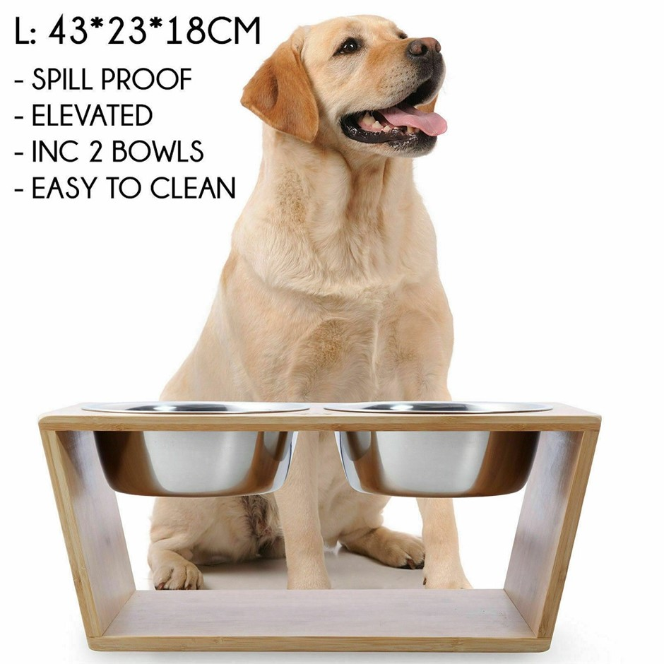 Natural Bamboo Pet Feeder With Stainless Steel Bowls - Small (Brown)