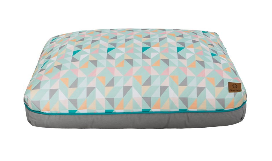 Charlie's Rectangular Funk Pet Bed Pad- Green Triangle Large
