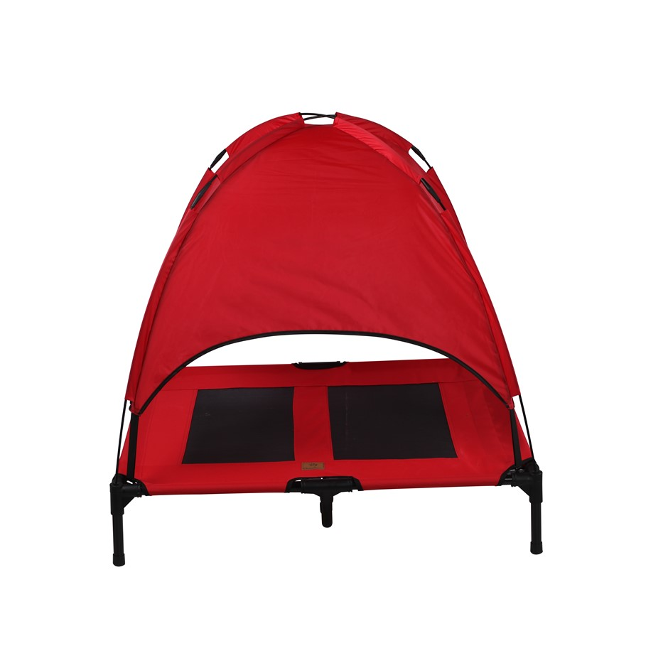Charlies Elevated Pet Bed With Tent Red Large