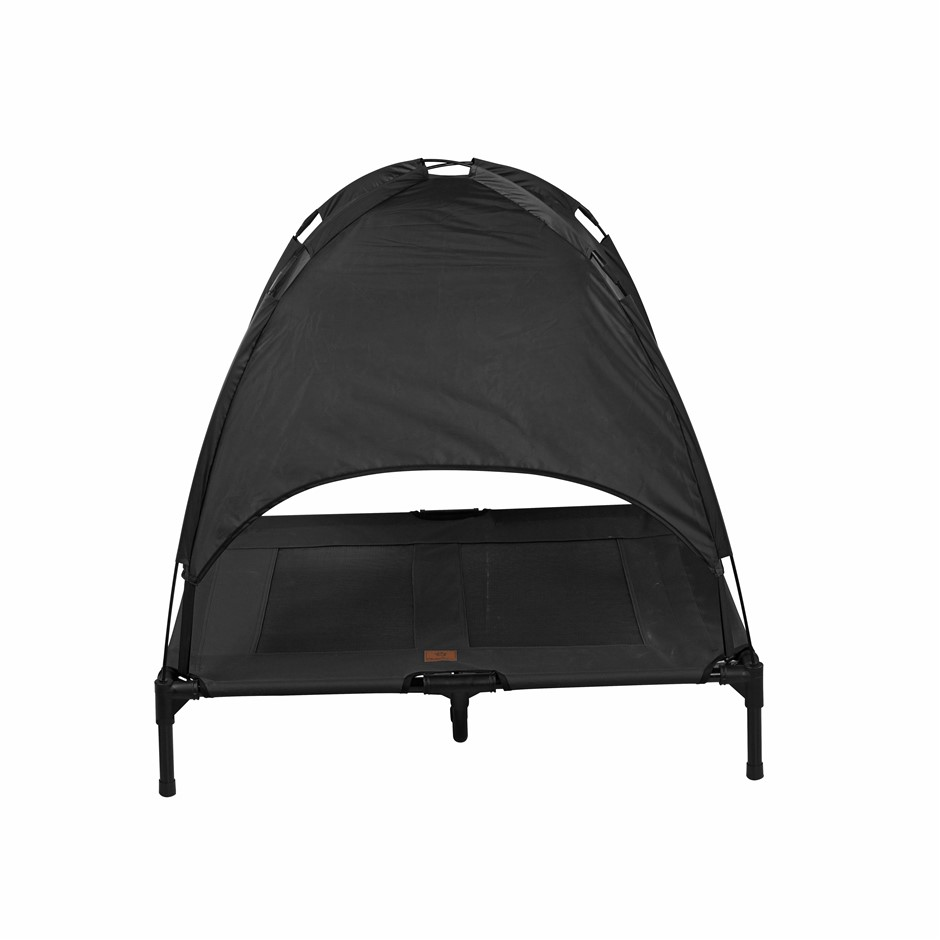 Charlies Elevated Pet Bed With Tent Black Large