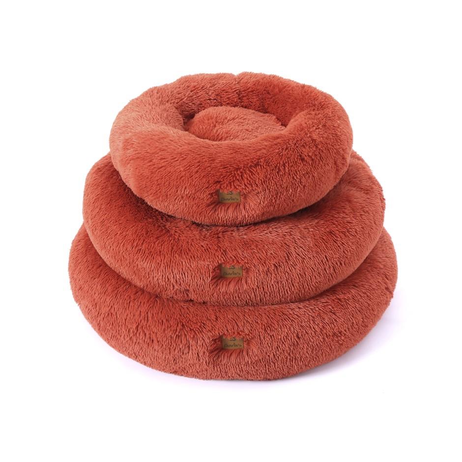 Charlie's Faux Fur Fuffy Calming Pet Bed Nest Medium Terracotta