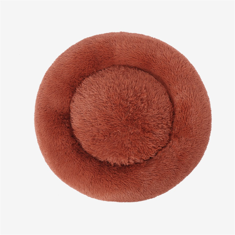 Charlie's Faux Fur Fuffy Calming Pet Bed Nest Large Terracotta