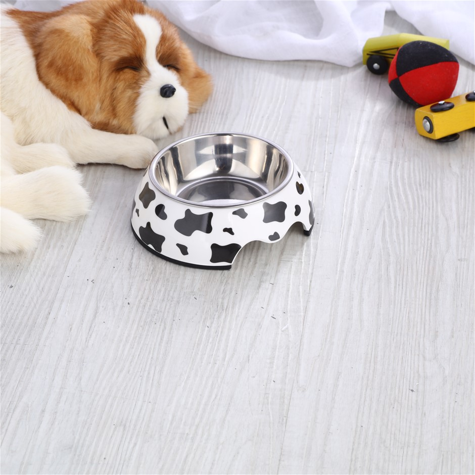 Charlie's Melamine Printed Pet Feeders with Stainless Bowl -Cow Small