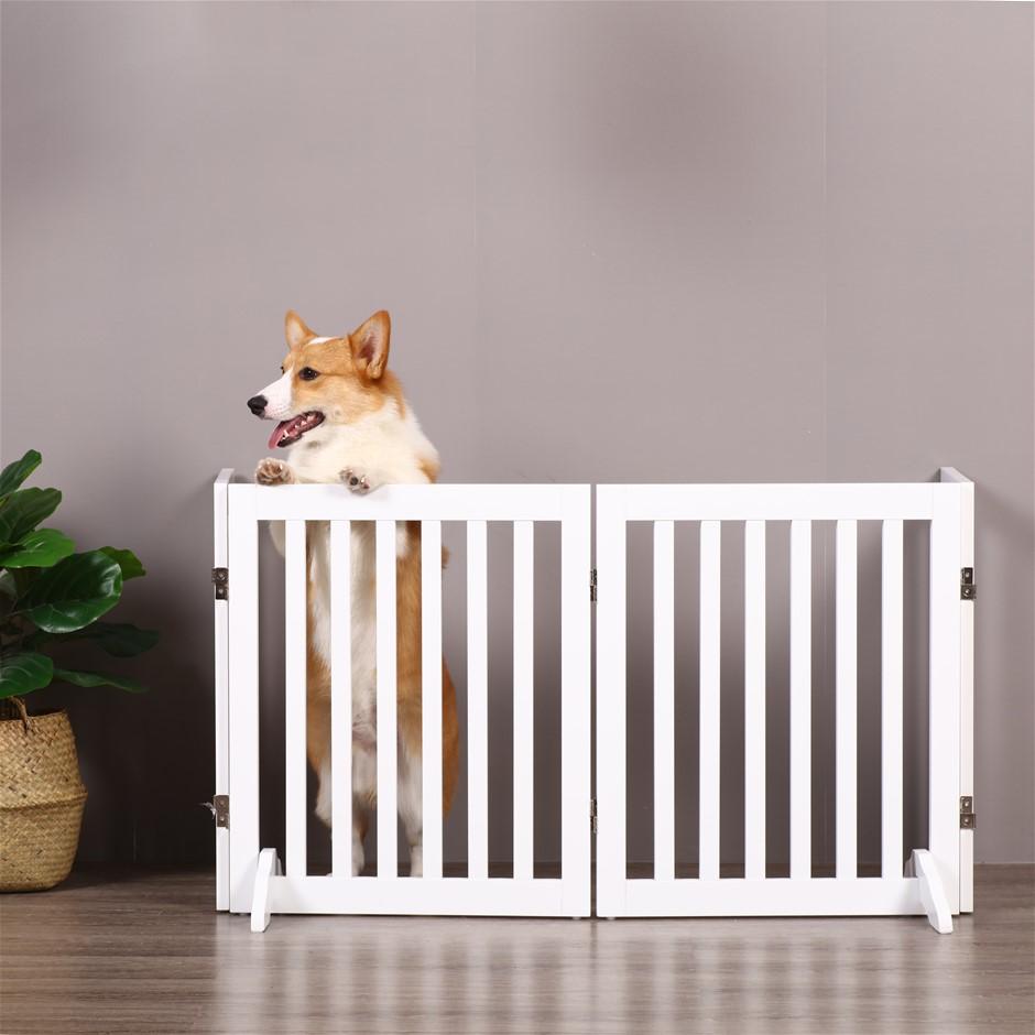 Charlie's Durable 100% MDF 4 Panel Freestanding Pet Gate White