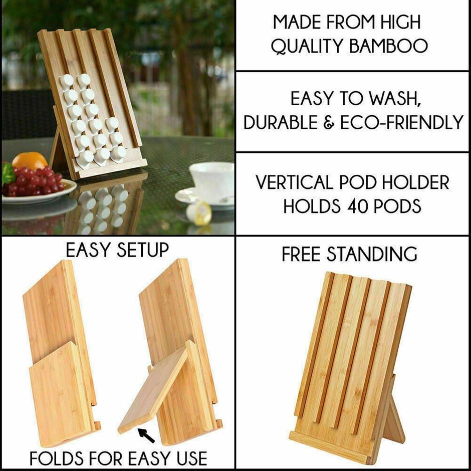 Sherwood Bamboo coffee pod holder stand - For Nespresso Pods