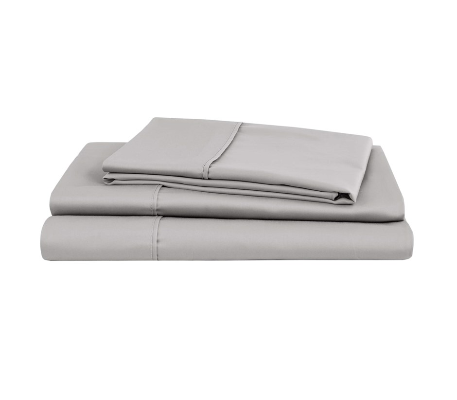 Natural Home Organic Cotton Sheet Set Super King Bed SILVER