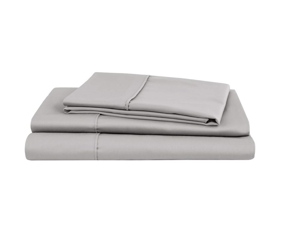 Natural Home Organic Cotton Sheet Set Super King Bed SILVER
