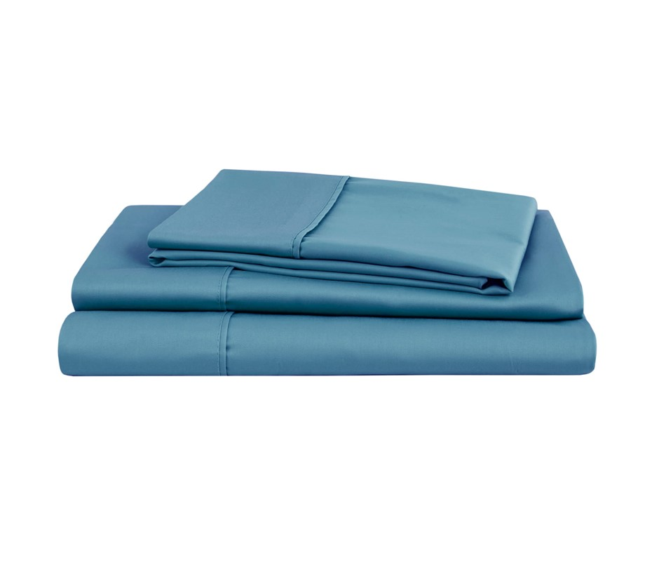Natural Home Organic Cotton Sheet Set Queen Bed NIAGARA BLUE