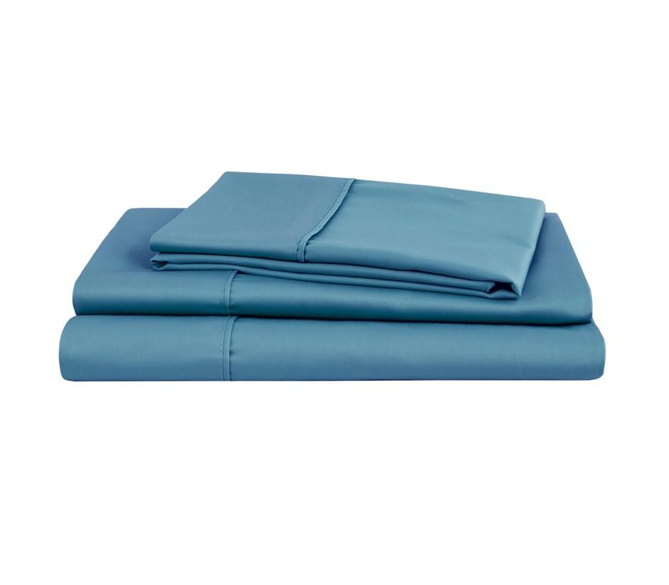 Natural Home Organic Cotton Sheet Set Queen Bed NIAGARA BLUE