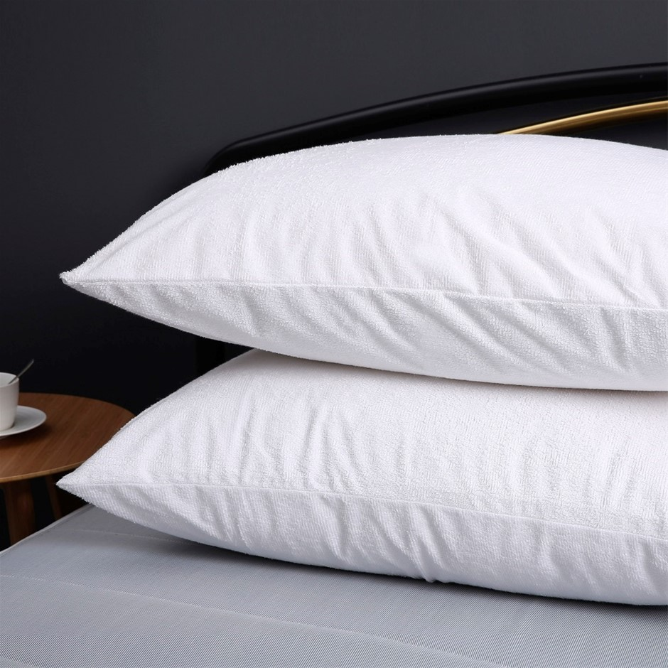 Dreamaker Cotton Terry Towelling Waterproof Pillow Protector--Twin Pack