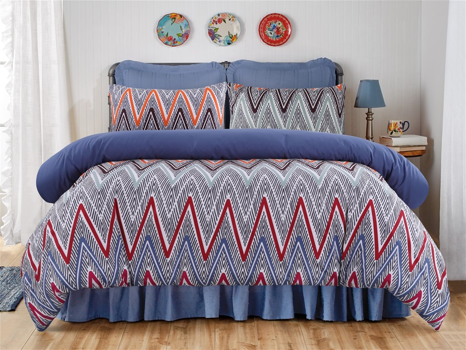 Dreamaker Printed Microfibre Quilt Cover Set Queen Bed Alberta