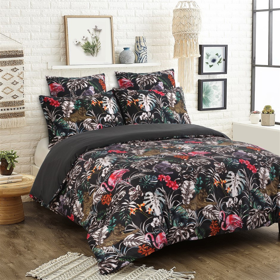 Dreamaker 300TC Cotton Sateen Printed Quilt Cover Set Super King Bed