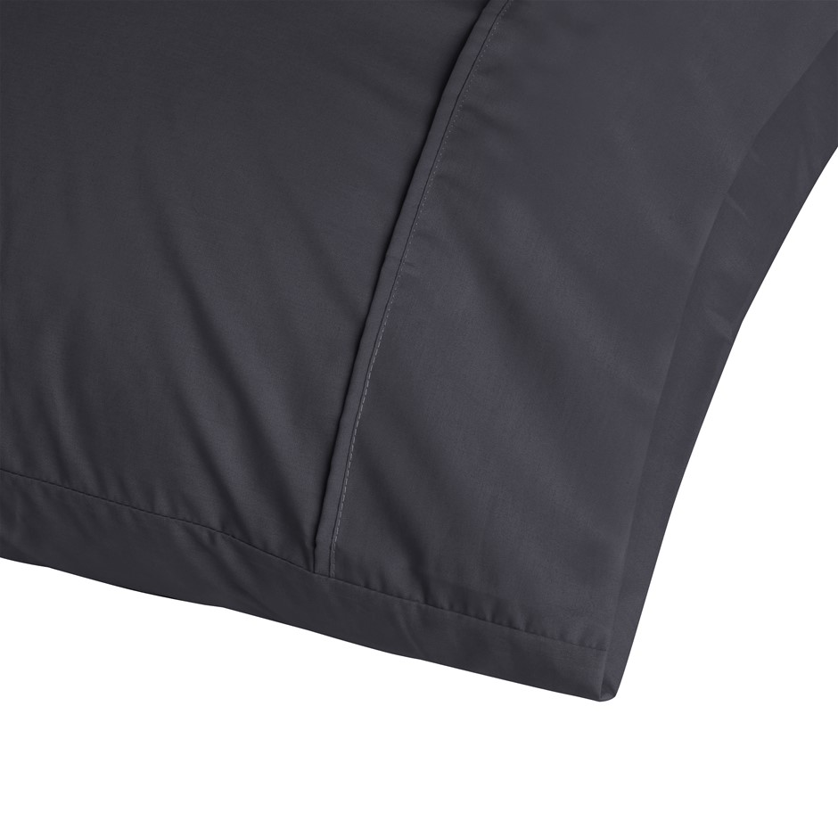 Dreamaker 250TC Plain Dyed King Size Pillowcases - Twin Pack - Charcoal