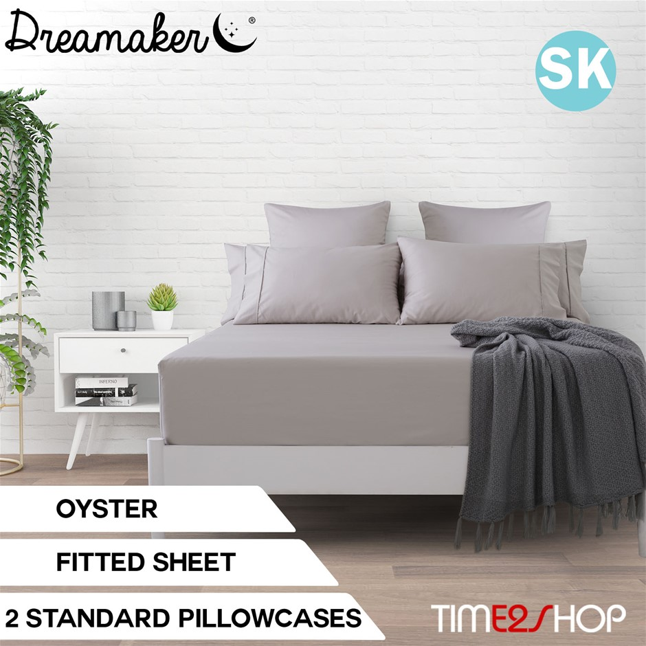 Dreamaker Cotton Sateen 1000TC Fitted Sheet Oyster Super King Bed