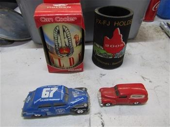 2 x FJ Holden Match Box Cars & 2 x Holden Stubbie Holders