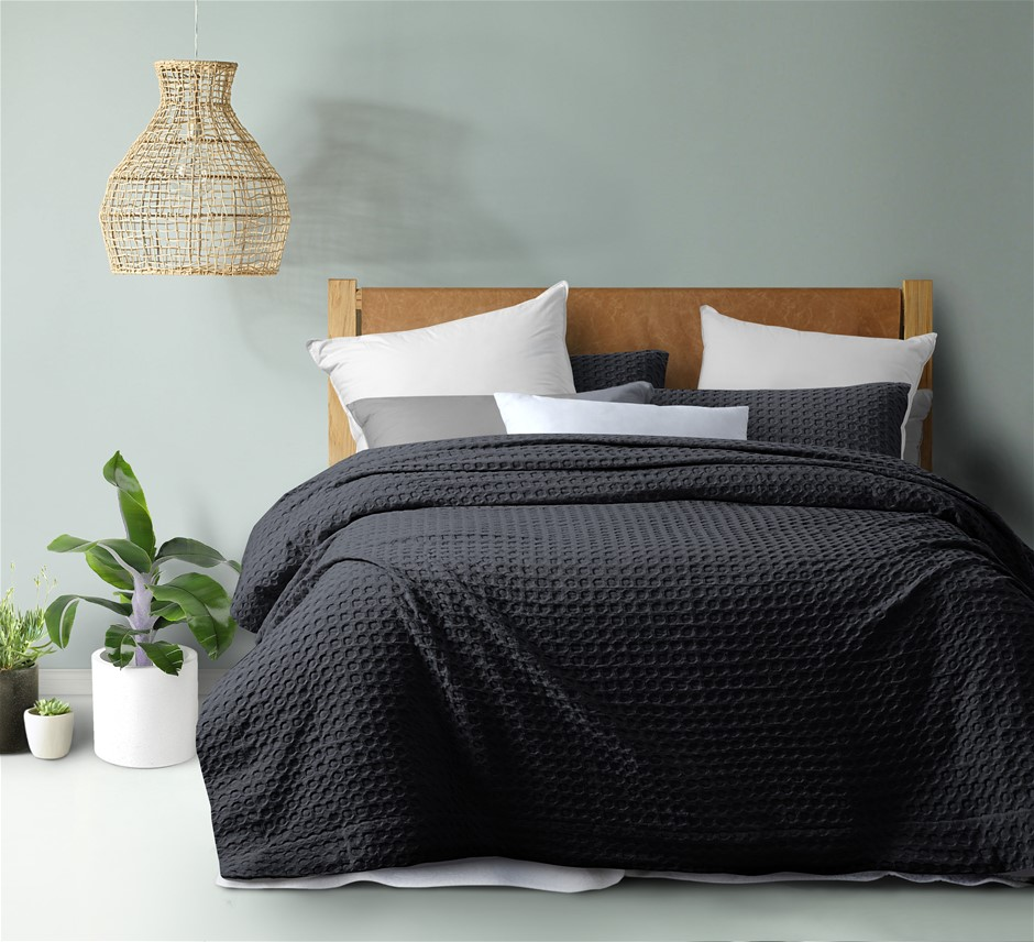 Dreamaker cotton waffle Quilt Cover Set QB Charcoal