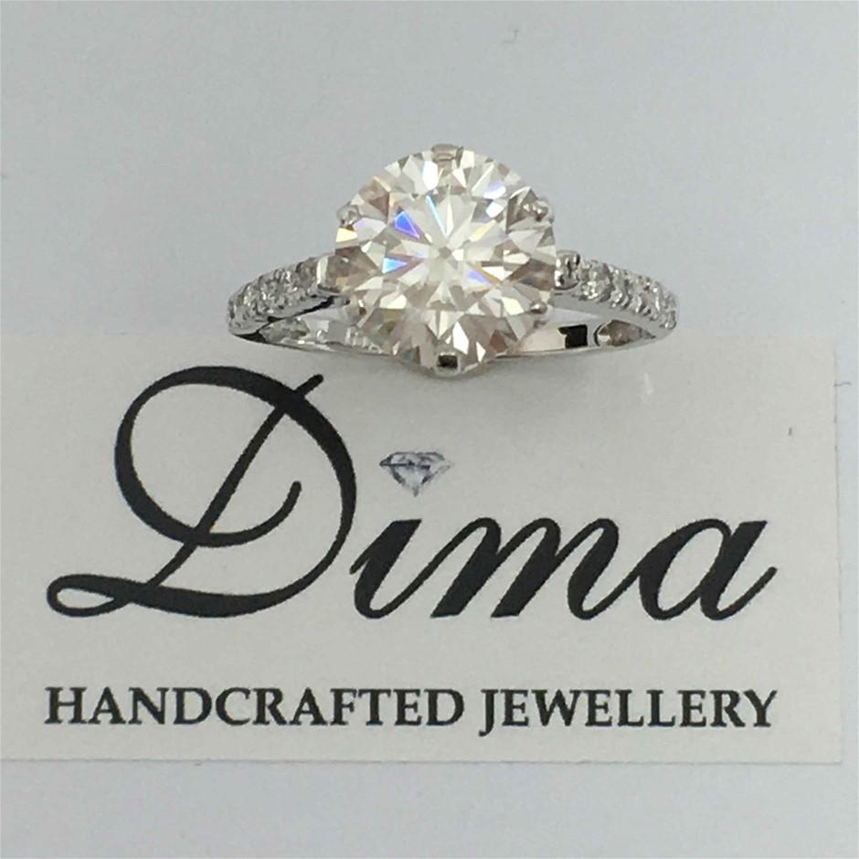18ct White Gold, 2.78ct White Moissanite and Diamond Engagement Ring