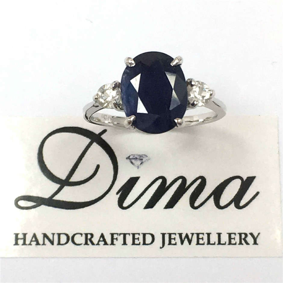 18ct White Gold, 4.88ct Blue Sapphire and White Sapphire Ring
