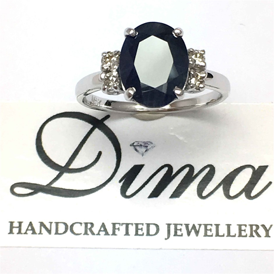 18ct White Gold, 4.03ct Blue Sapphire and Diamond Ring