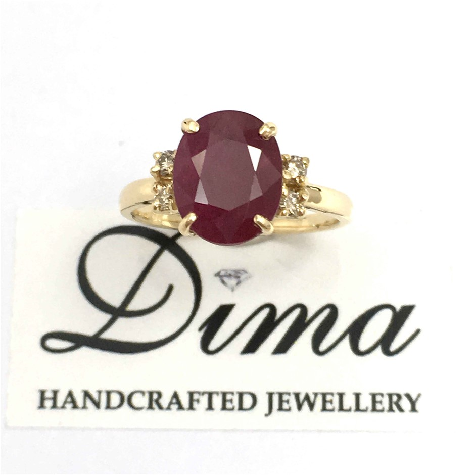 18ct Yellow Gold, 4.52ct Ruby and Diamond Ring