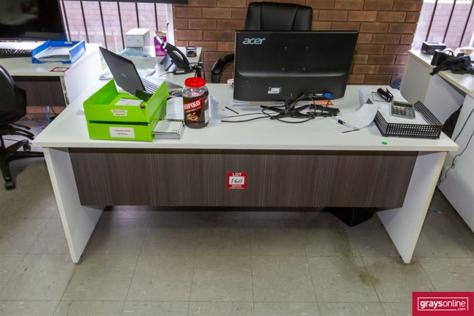 2x Assorted Office Desk with Pigeon Hole Shelf