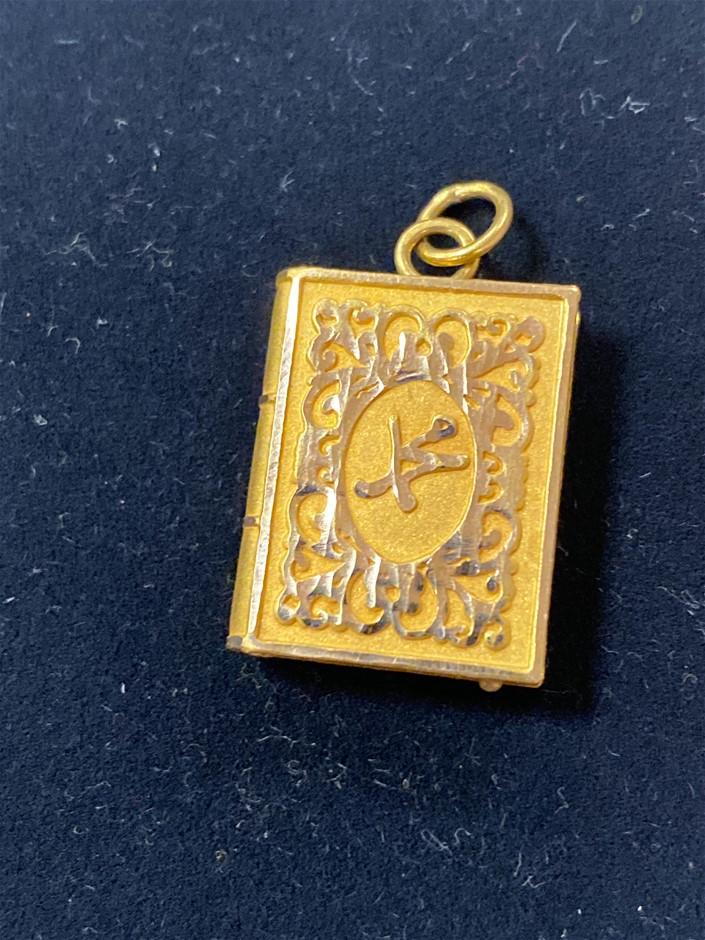 Gold Pendant 21 Karat Yellow Gold Features Religious