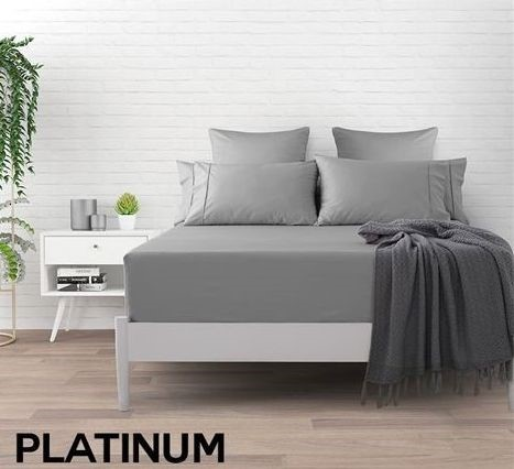 Dreamaker 500 TC Cotton Sateen Fitted Sheet King Single Bed - Platinum