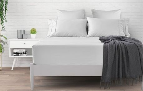 Dreamaker 500 TC Cotton Sateen Fitted Sheet Double Bed - White