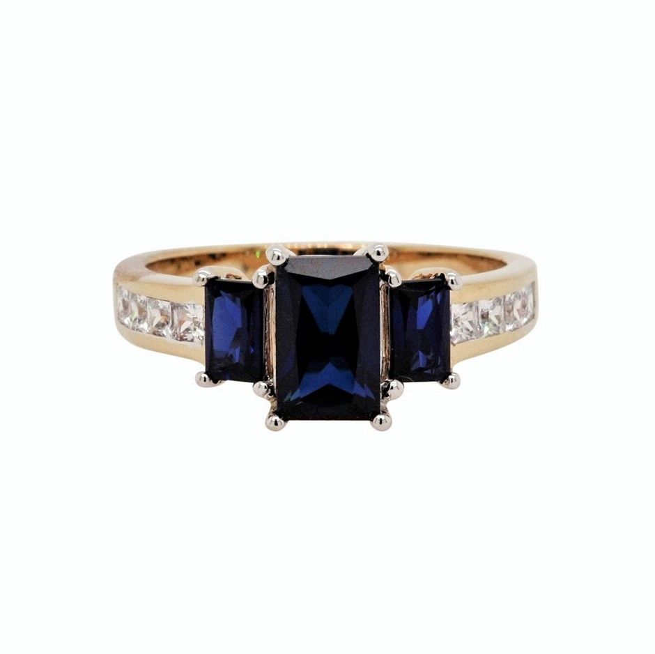 Ladies Yellow Gold Vermeil Blue Sapphire (CR) & White CZ Dress Ring.