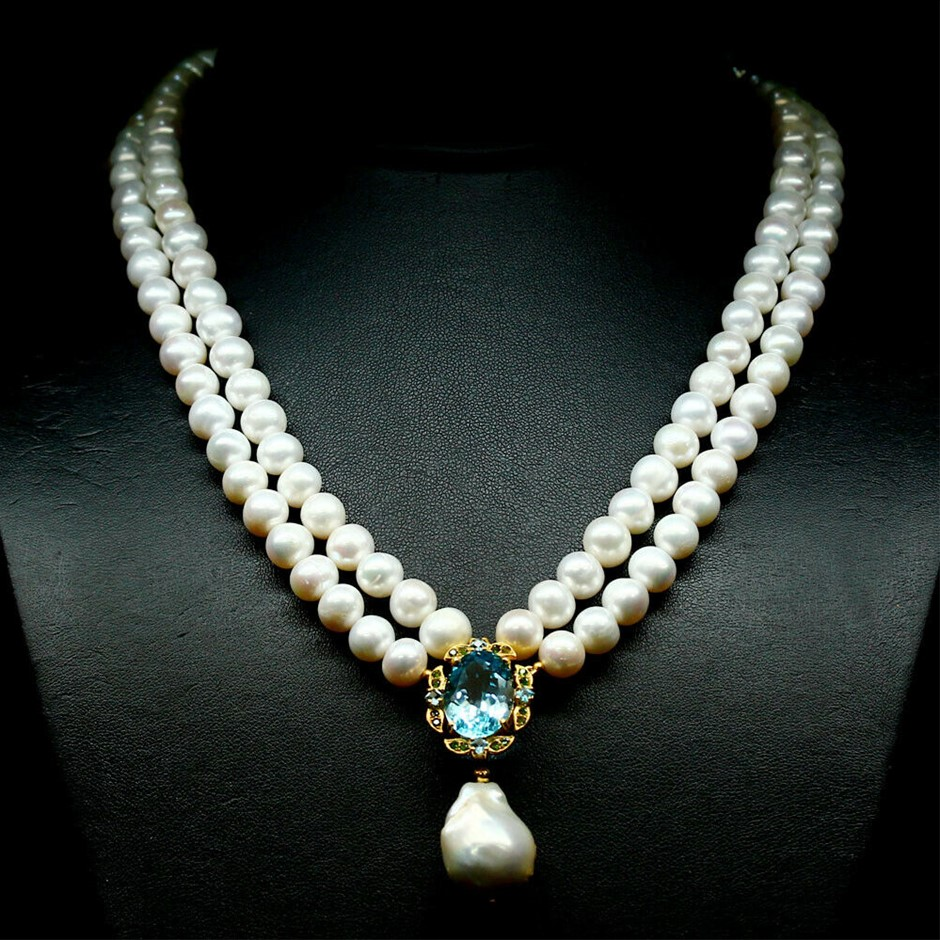 Glorious Genuine Pearl & Topaz Necklace