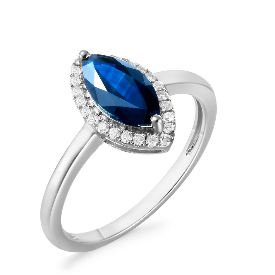 9ct White Gold, 1.28ct Blue Sapphire and Diamond Ring