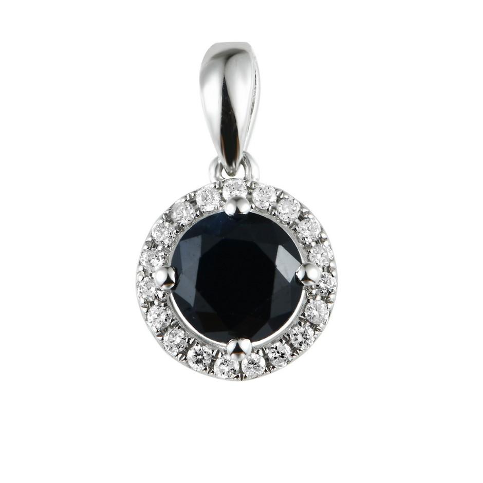 9ct Rose Gold, 1.35ct Blue Sapphire and Diamond Pendant