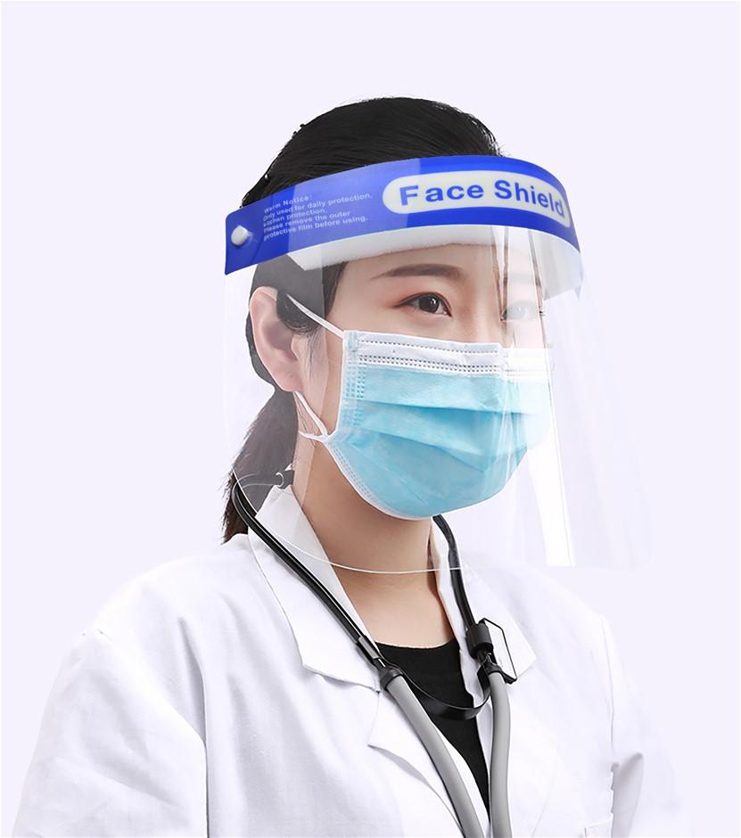 6x Safety Full Face Shield Clear Protector Anti-Fog + Elastic Head Band