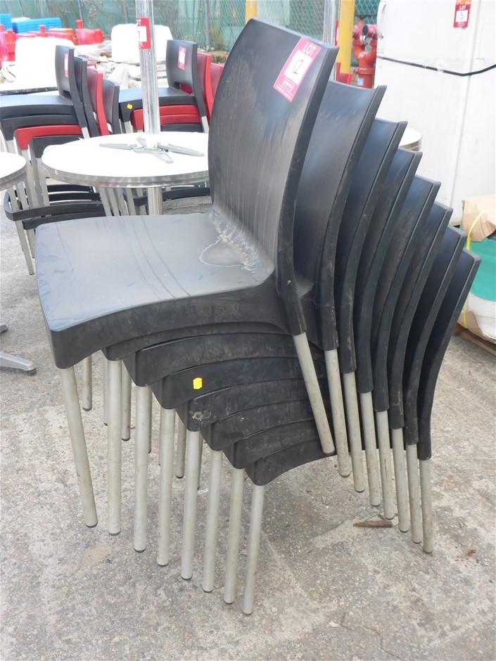 8 x Plastic & Aluminium Stackable Chairs