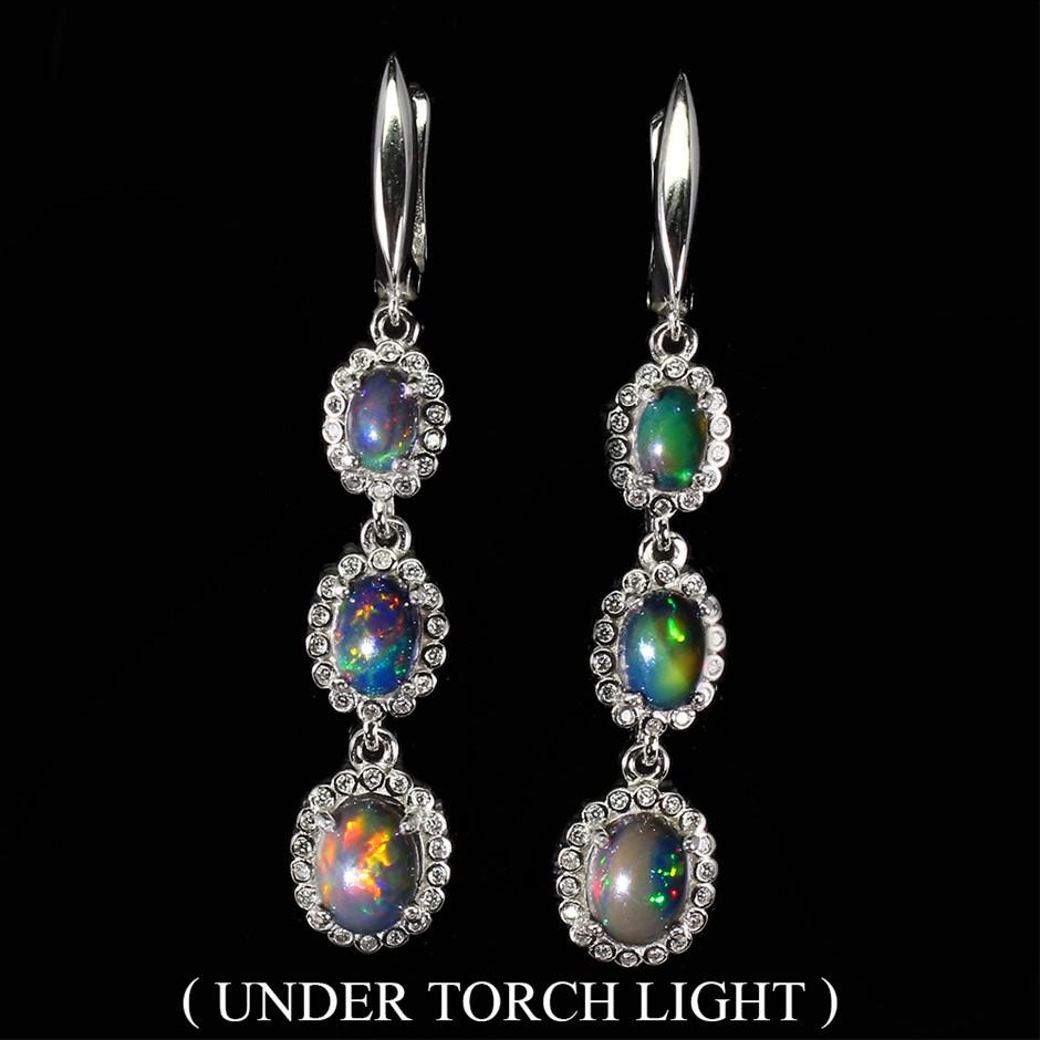 Gorgeous Genuine Opal Drop Earrings.